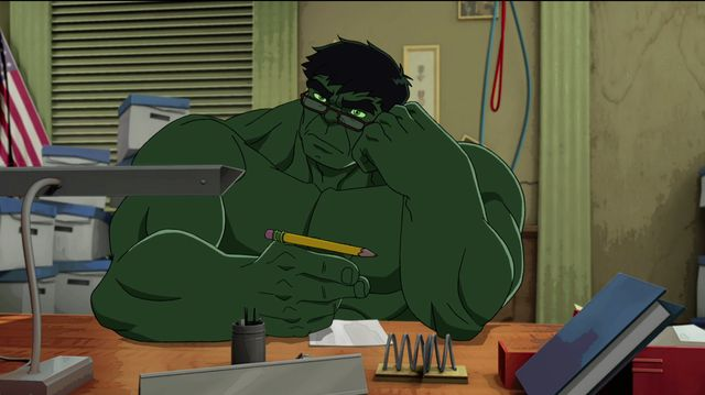 fotograma de serie animada con hulk en su faceta científica