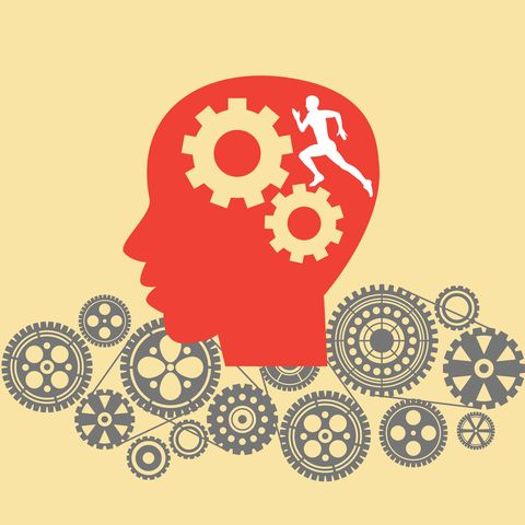 Human head with cogs and gears.