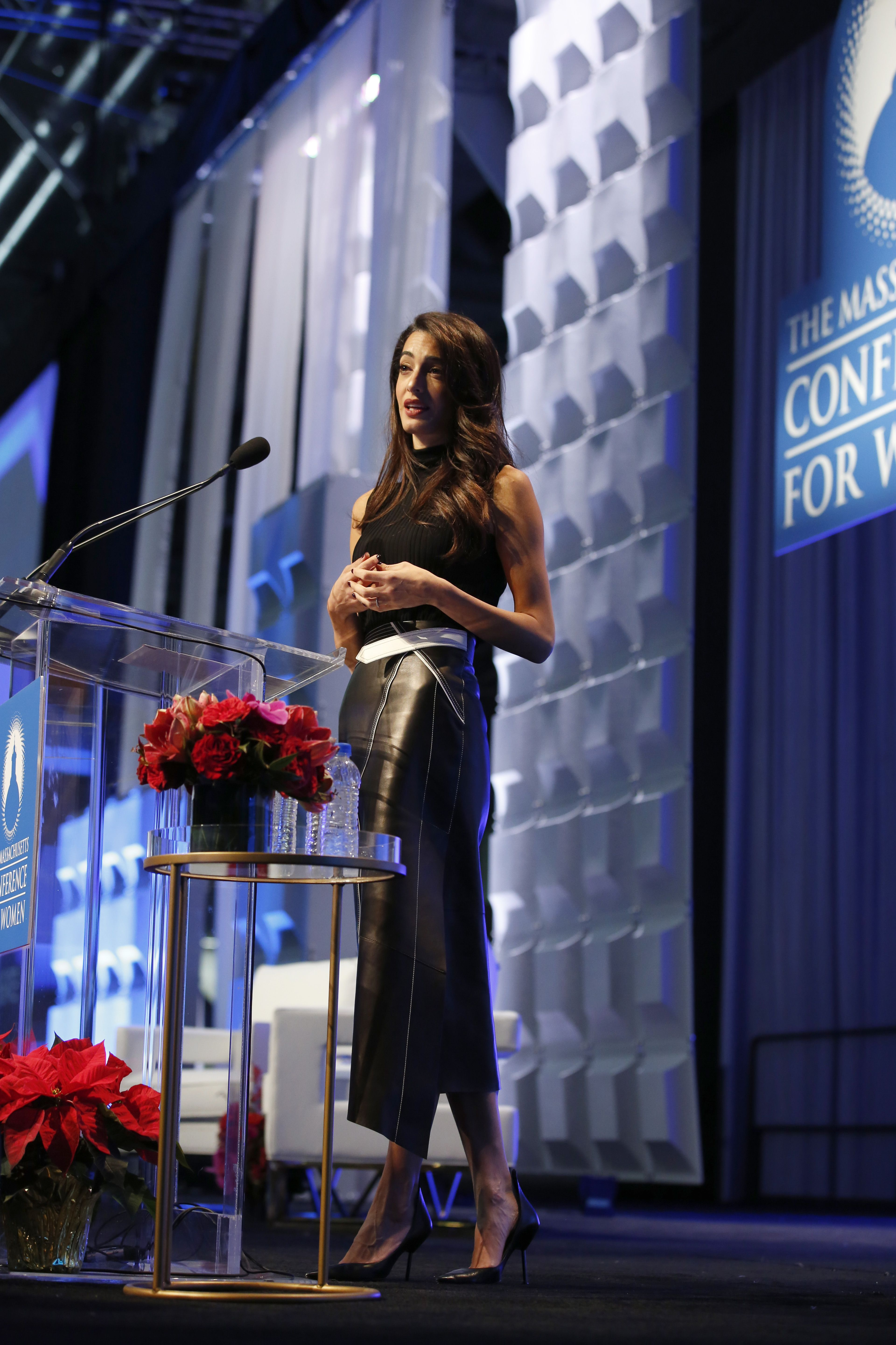 December 6, 2018 Speaking in a sleeveless turtleneck and long black leather skirt at the 2018 Massachusetts Conference For Women at the Boston Convention & Exhibition Center.
