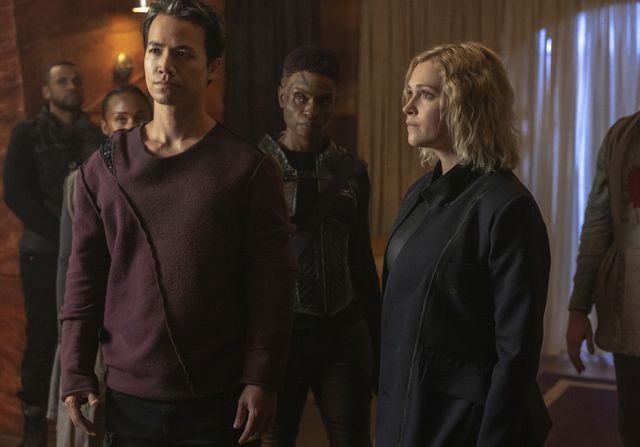 the 100    from the ashes    image number hu701a0094rjpg    pictured l r jarod joseph as miller, shannon kook as jordan green, adina porter as indra and eliza taylor as clarke    photo colin bentleythe cw    © 2020 the cw network, llc all rights reserved