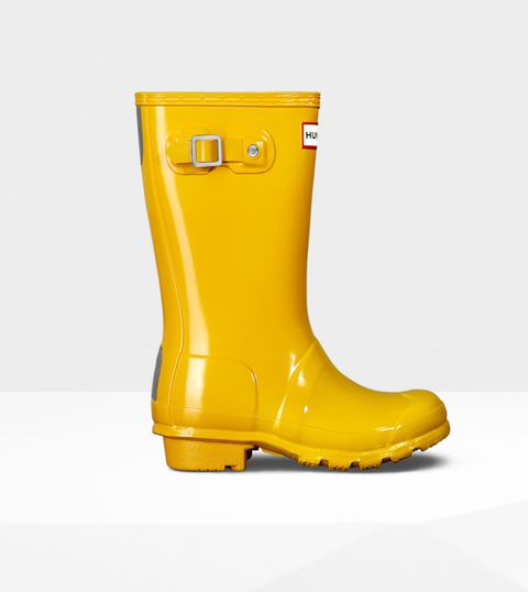 Hunter Original Short Gloss Wellington Boot in Yellow photo