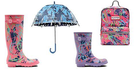Footwear, Blue, Product, Boot, Pink, Shoe, Turquoise, Rain boot, Umbrella, Design,