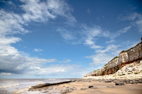 cliff erosion and shipwreck at hunstanton eastern england in summer