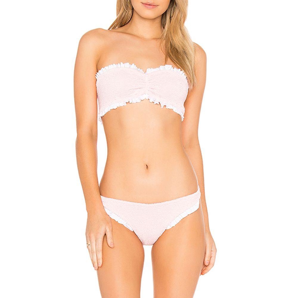 hunza g pink smocked bikini set