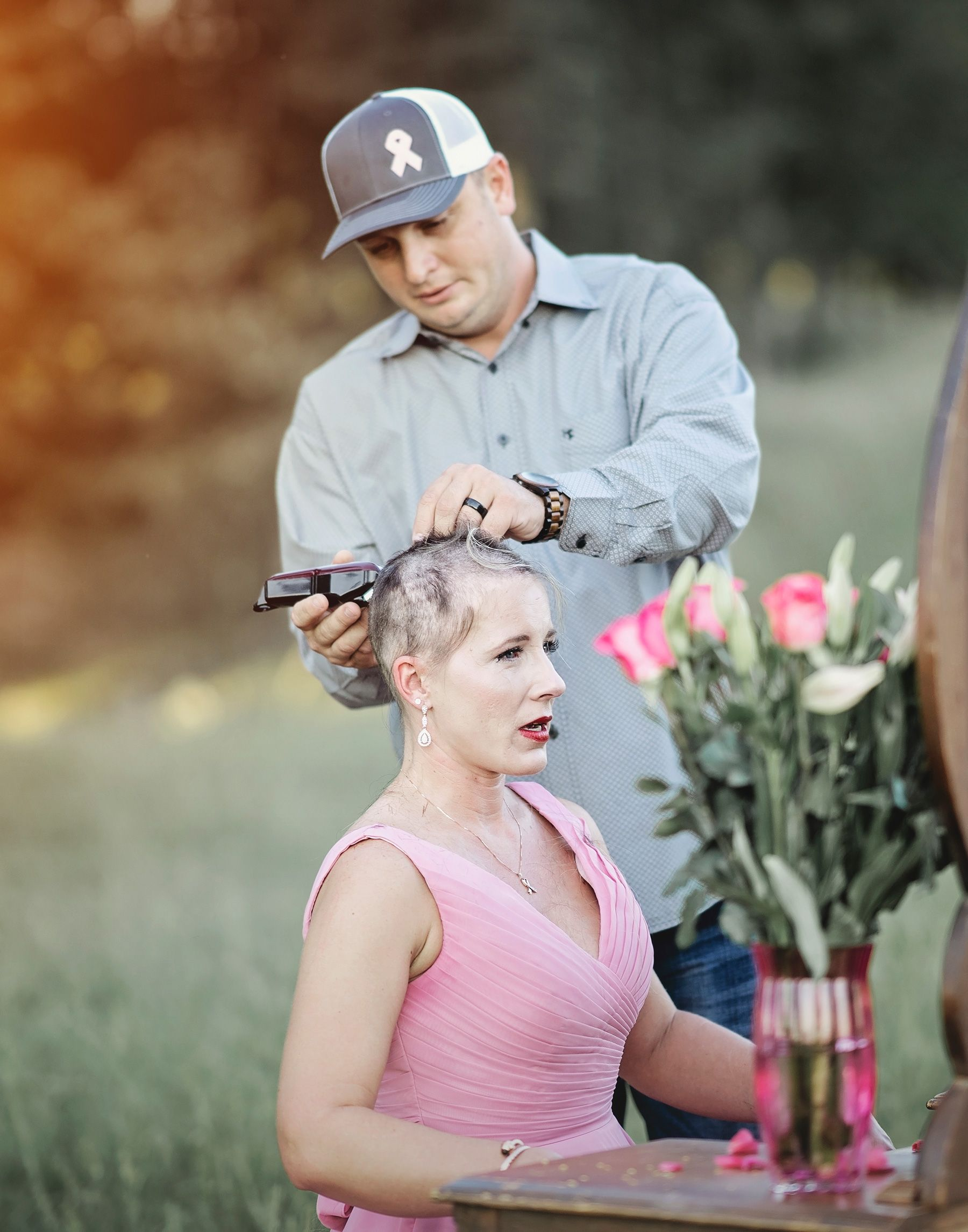 Husband Shaves Wife's Head In Beautiful Photoshoot To Fight Back Against Breast Cancer