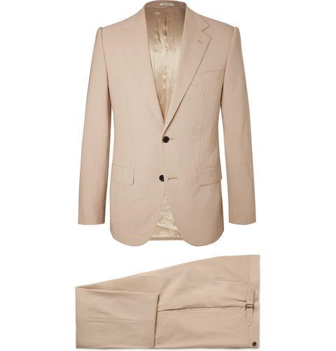 Suit, Clothing, Outerwear, Formal wear, Blazer, Beige, Jacket, Tuxedo, Button, Sleeve,
