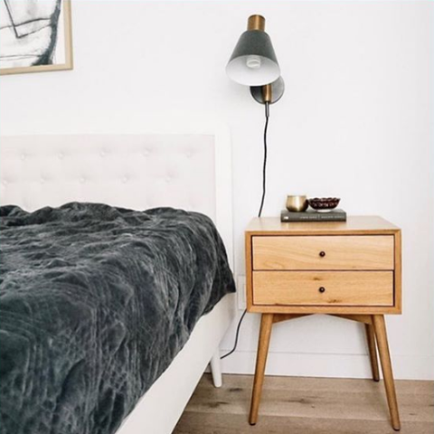 Furniture, Bedroom, Nightstand, Room, Table, Interior design, Floor, Bed, Chest of drawers, Wall,