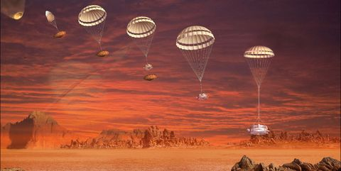 Sky, Hot air ballooning, Hot air balloon, Atmosphere, Vehicle, Landscape, Cloud, Rock, World, Space,