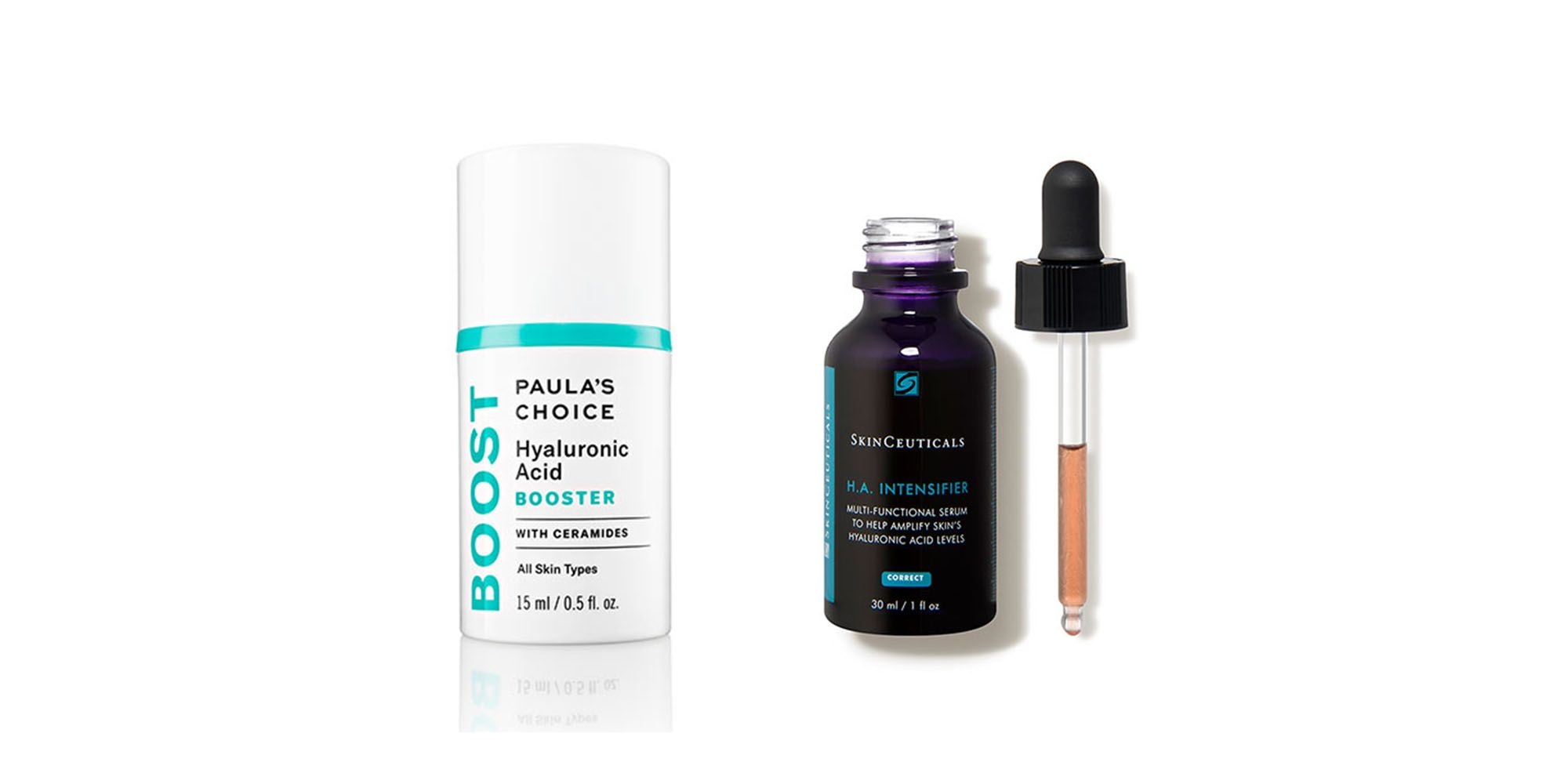 Paula's Choice Hyaluronic Acid Booster; Skinceuticals HA Intensifier