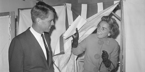 Robert Kennedy Watches Wife Ethel in Booth
