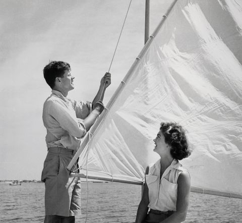 John Kennedy and Jacqueline Bouvier on Sailboat