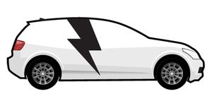 white electric vehicle graphic