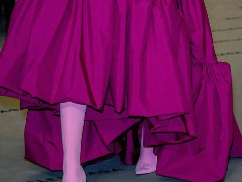 Clothing, Magenta, Purple, Pink, Violet, Outerwear, Textile, Dress, Satin, Costume,