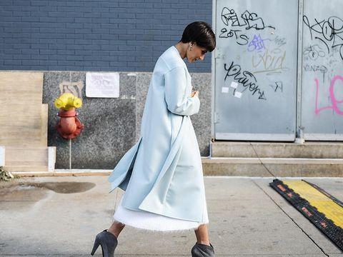 Street fashion, Clothing, Fashion, Snapshot, Yellow, Outerwear, Footwear, Costume, Dress, Trench coat,