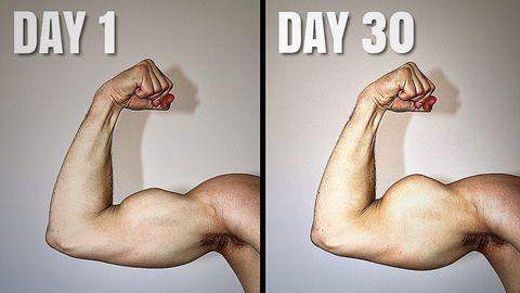 30日間,100回のダンベル筋トレ,上腕二頭筋,起きた変化と効果,トレーニング,ワークアウト,【結果と効果】1日目と30日目を比較