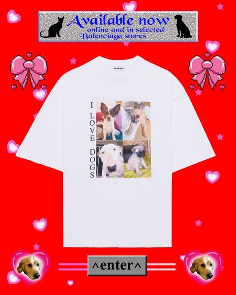 """身近な動物の命を守るためのカプセルコレクション""""i love pets""""が、バレンシアガから発売。犬の転写プリントがされた白tシャツ"""