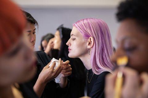 Beauty, Fashion, Purple, Event, Makeup artist, Performance, Fashion design, Ceremony, Party, Magenta,