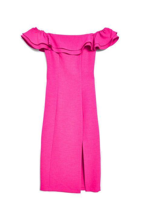Topshop Ruffle Bardot Midi Dress