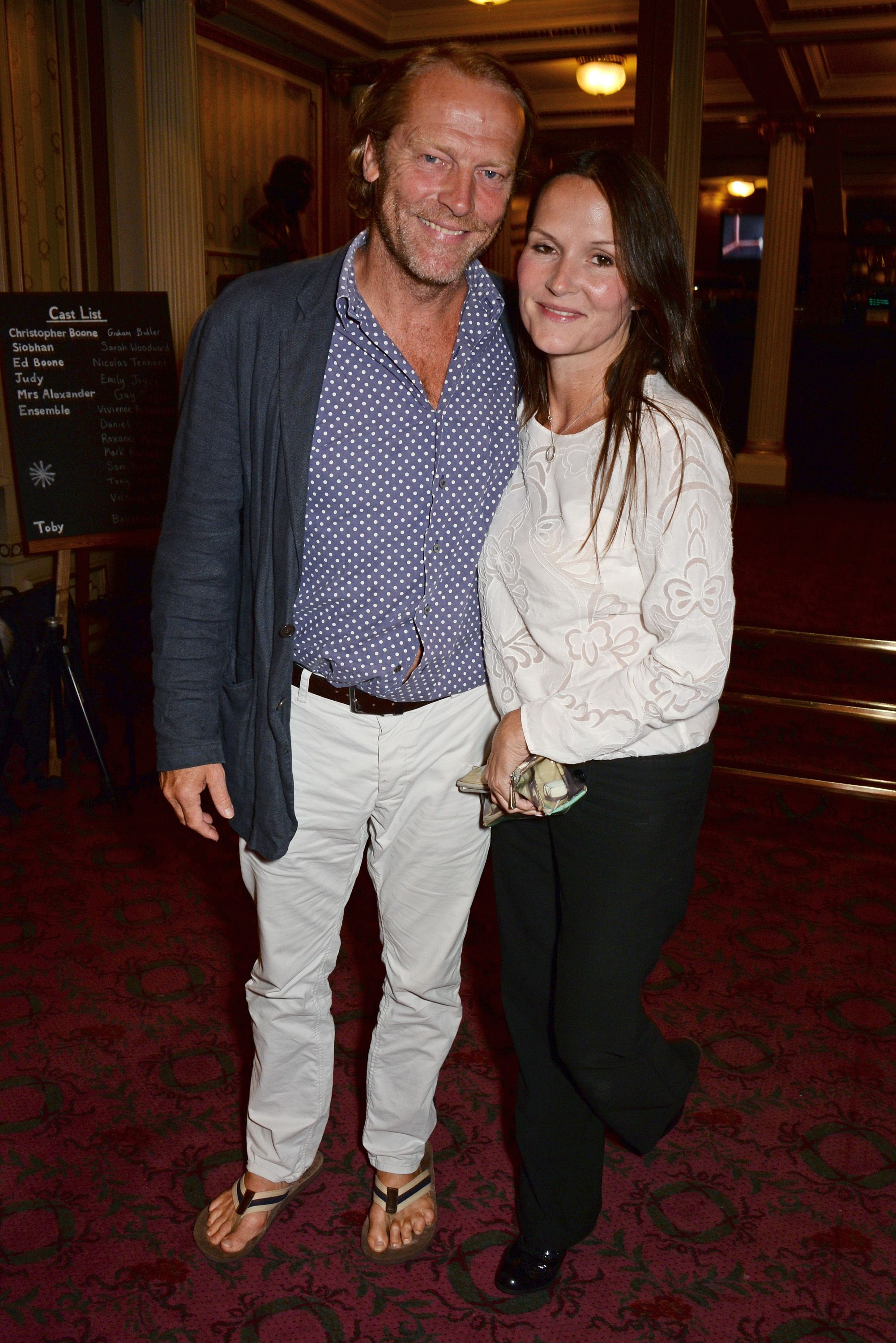 Iain Glen (Ser Jorah) and Charlotte Emmerson The couple have been together since 2005 .