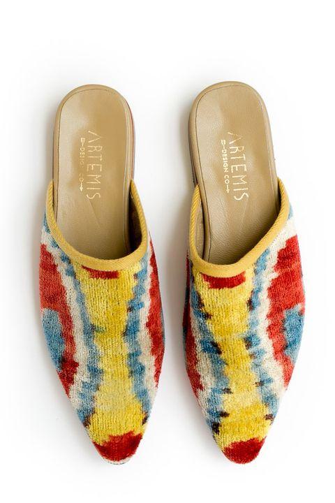 Footwear, Shoe, Yellow, Espadrille, Beige, Slipper, Slingback,