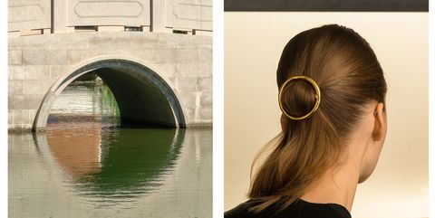 Hair, Ear, Hairstyle, Waterway, Arch, Style, Reflection, Fashion accessory, Beauty, Temple,