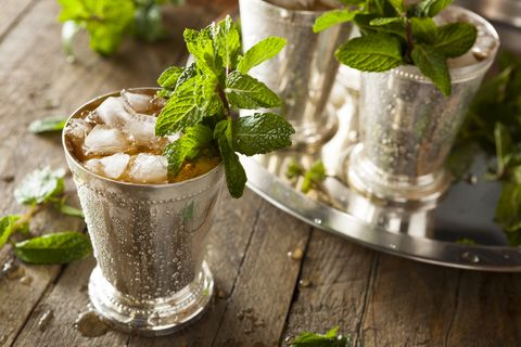 Ice cold mint julep in a metal cup