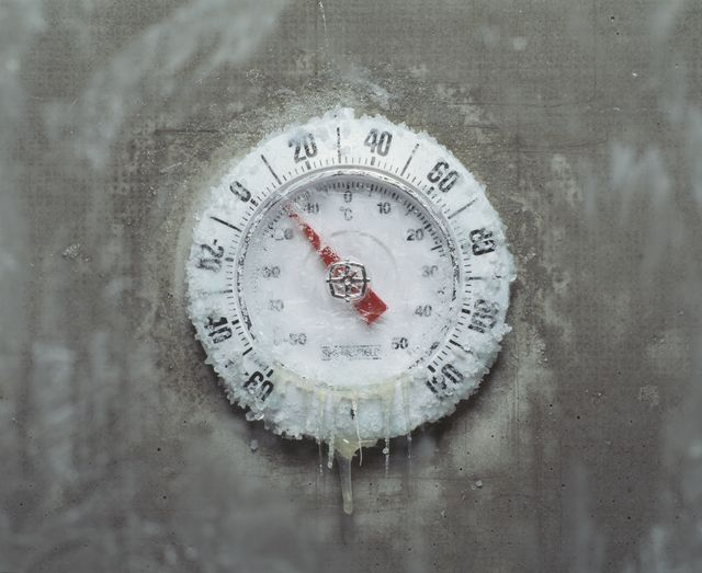ice covered thermometer, close up