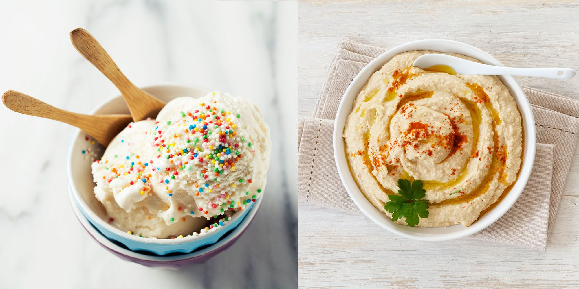 Ice cream and hummus