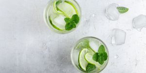 Iced cold lemonade with fresh lime and juice