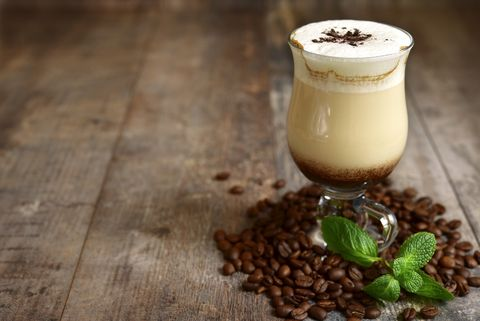 iced mint  latte in a glass