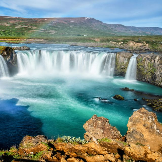 the godafoss icelandic waterfall of the gods is a famous waterfall in iceland the breathtaking landscape of godafoss waterfall attracts tourist to visit the northeastern region of iceland