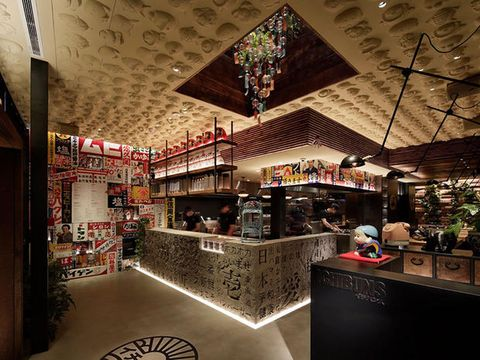 Building, Interior design, Lighting, Architecture, Ceiling, Retail, Shopping mall, House, Restaurant, City,