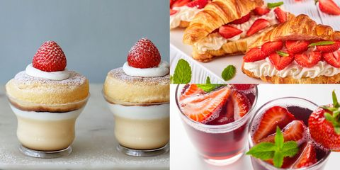 Food, Cuisine, Dish, Dessert, Verrine, Strawberry, Strawberries, Ingredient, Sweetness, Chiboust cream,