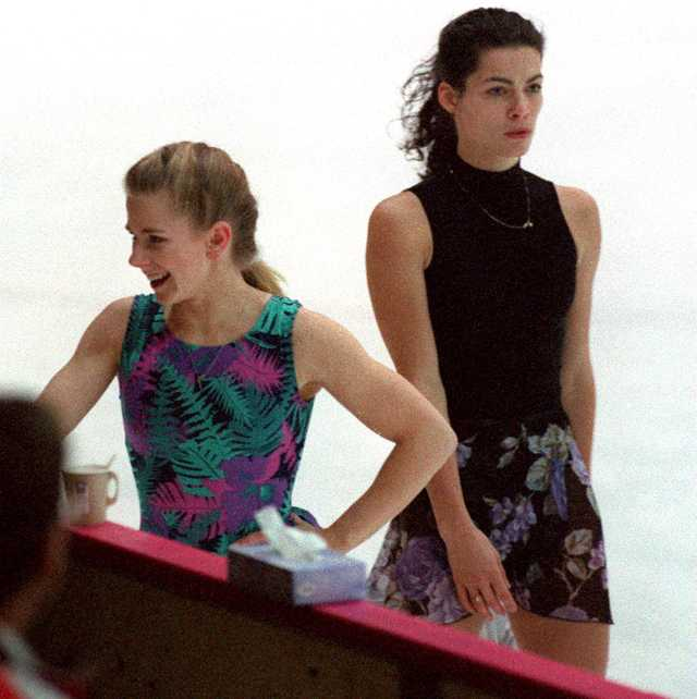 hamar   february 16 tonya harding is passed by nancy kerrigan during their first practice session photo by john tlumackithe boston globe via getty images