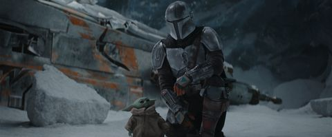the mandalorian pedro pascal and the child in the mandalorian, season two © 2020 lucasfilm ltd  tm all rights reserved
