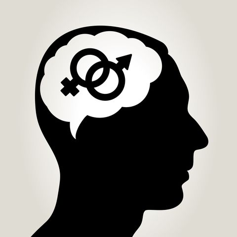 Idea concept in the human brain / Sex symbol vector icons