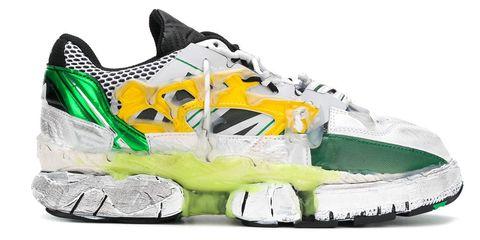 Footwear, Running shoe, Shoe, White, Yellow, Green, Outdoor shoe, Walking shoe, Athletic shoe, Cross training shoe,