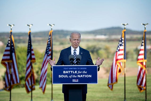 """former us vice president joe biden, democratic presidential candidate, speaks at the lodges at gettysburg october 6, 2020, in gettysburg, pennsylvania   democrat joe biden warned on october 6, 2020 that """"the forces of darkness"""" are dividing americans, stressing that as president he would strive to """"end the hate and fear"""" consuming the nation photo by brendan smialowski  afp photo by brendan smialowskiafp via getty images"""