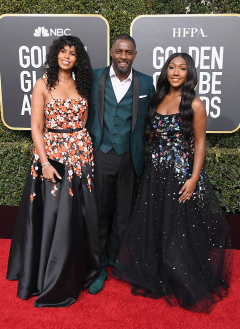 Sabrina Dhowre, Idris Elba and Isan Elba attend the 76th Annual Golden Globe Awards