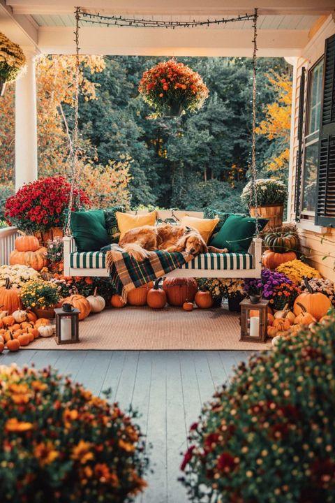 idyllic fall porch outdoor pumpkin decorations