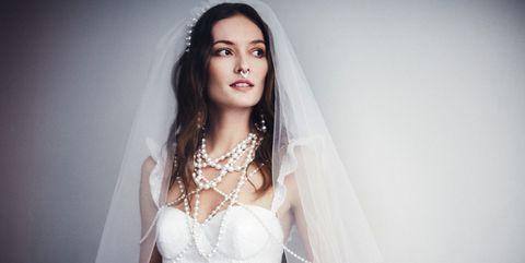 Clothing, Lip, Bridal clothing, Hairstyle, Skin, Eye, Bridal veil, Eyebrow, Veil, Bridal accessory,