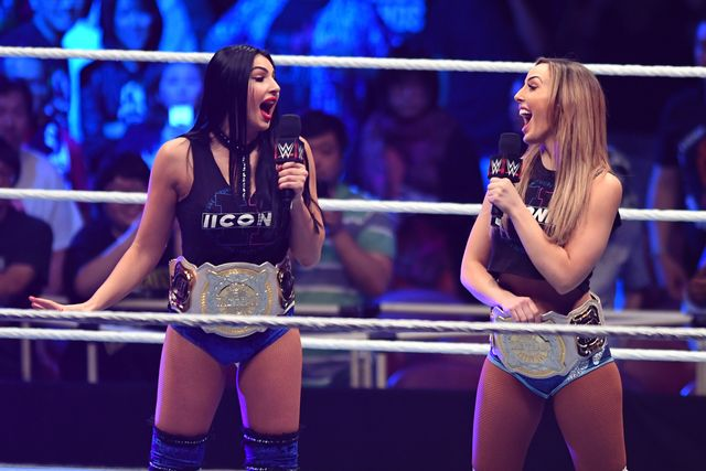 tokyo,japan   june 29 the ilconics,billie kay and peyton royce speak during the wwe live tokyo at ryogoku kokugikan on june 29, 2019 in tokyo, japan photo by etsuo haragetty images