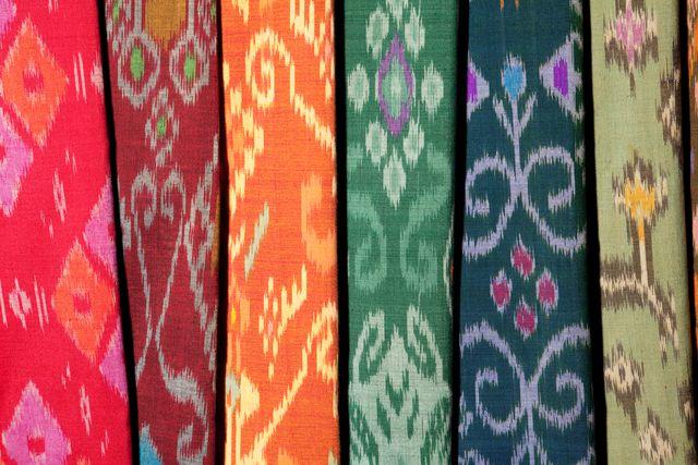 ikat textiles at indonesian textile market