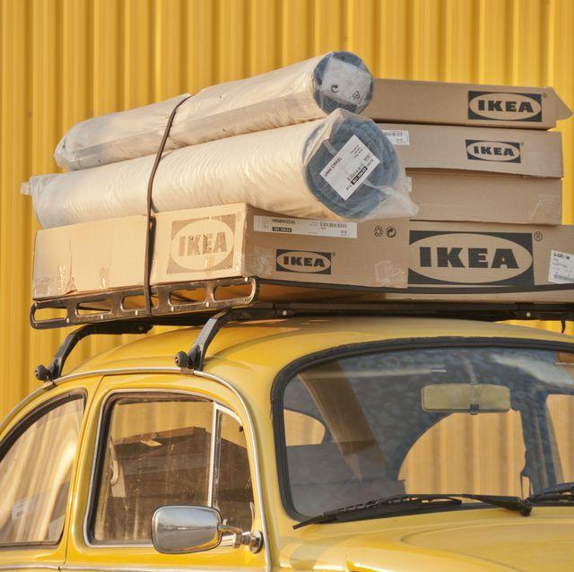 ikea boxes at the top of car bornova izmir turkey