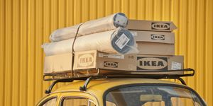 Ikea Boxes at the top of Car, Bornova, Izmir, Turkey