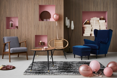 Furniture, Room, Pink, Living room, Interior design, Couch, Purple, Table, Chair, Coffee table,