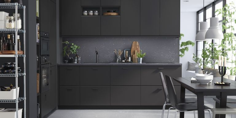 Ikea kitchen cabinets made from recycled materials black for Flat black kitchen cabinets