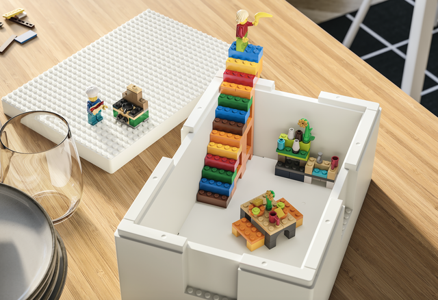 ikea and leggo white storage box with legos
