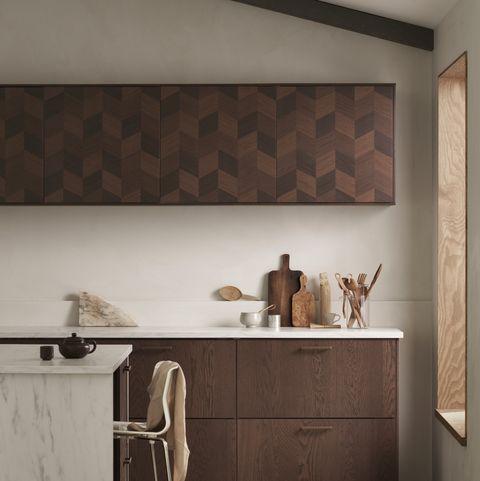 ikea frente de cocina en madera decorada