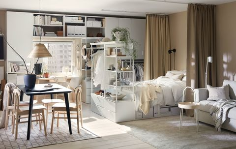 Furniture, Room, White, Living room, Interior design, Property, Table, Floor, Dining room, Building,